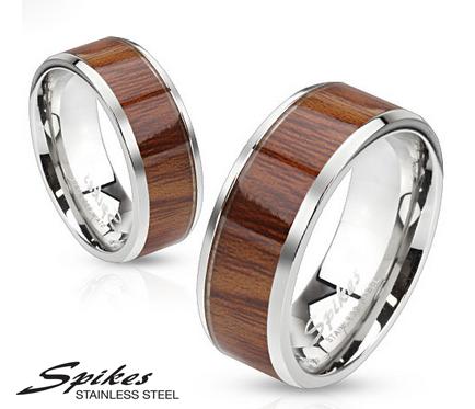 R-S1001 Мужское кольцо «Spikes» из ювелирной стали с деревянной вставкой