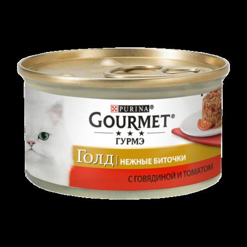Gourmet Gold Консервы для кошек Нежные биточки с Говядиной и томатами (Банка)