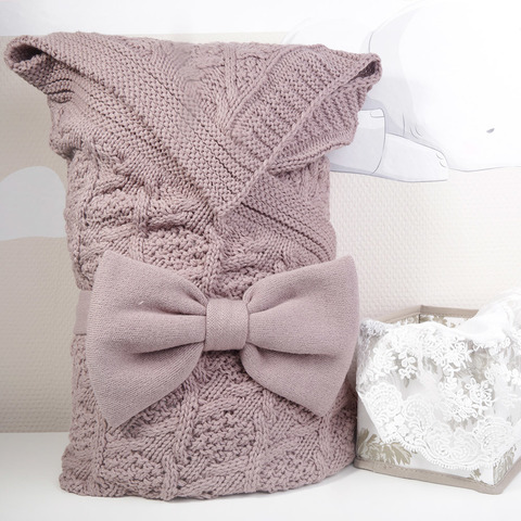 Комплект на выписку 4 предмета ( плед, одеяло, уголок, бант)