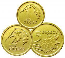 Набор 3 монеты 2014 г. 1,2,5 грошей Royal Mint. UNC