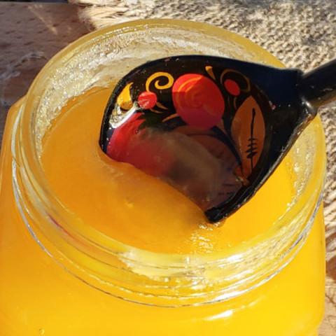 Мёд натуральный цветочный середина лета 2020 Ивановка 440 г в стеклянной баночке Мишка
