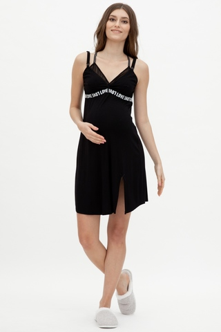 Ночная сорочка для беременных и кормящих 11034 чёрный