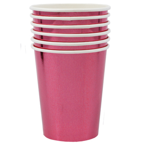Стаканы блестящие розовые, 6 штук