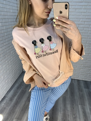 бледно-розовая футболка nadya
