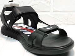 Кожаные сандалии босоножки найк Nike 40-3 Leather Black.