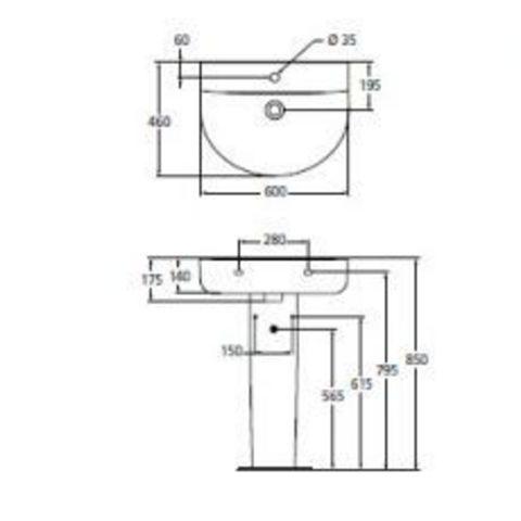 Раковина  Ideal Standard  Connect  Arc 60см E787501  схема