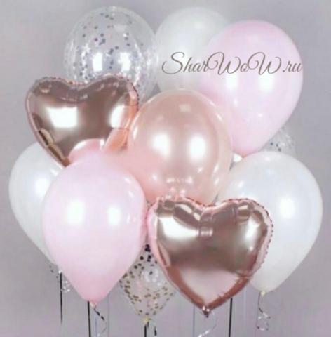 Сет шаров жемчужно-розовый, 15 шаров