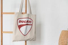 Сумка-шоппер с принтом Ducati (Дукати) бежевая 009