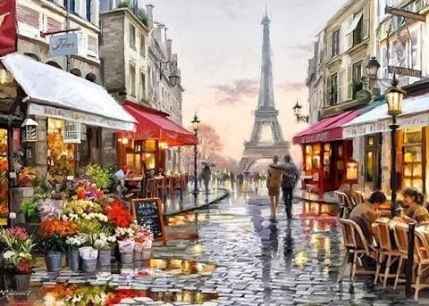 Алмазная Мозаика 40x50 Улочка Парижа (арт. SGJ70314)