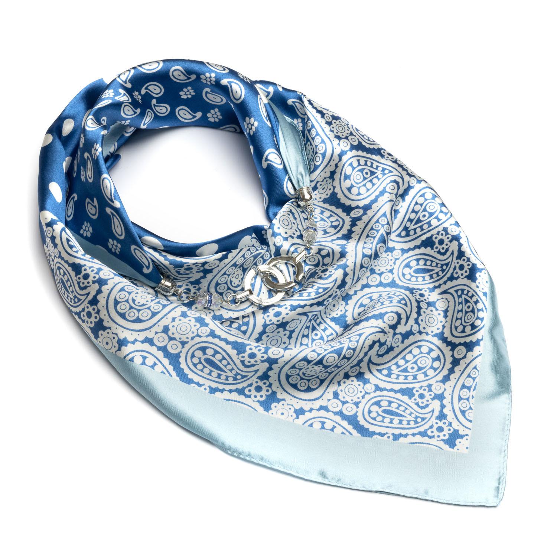 Шелковый платок голубой