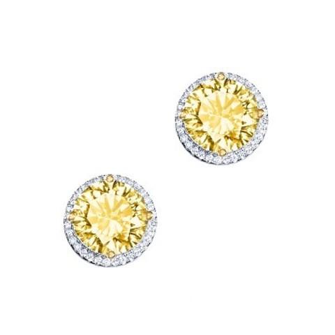 Пусеты CARATS  из серебра с круглыми, желтыми цирконами в стиле KoJewelry 4844