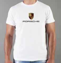 Футболка с принтом Порше (Porsche) белая 002