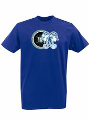 Футболка с принтом Знаки Зодиака, Близнецы (Гороскоп, horoscope) синяя 004