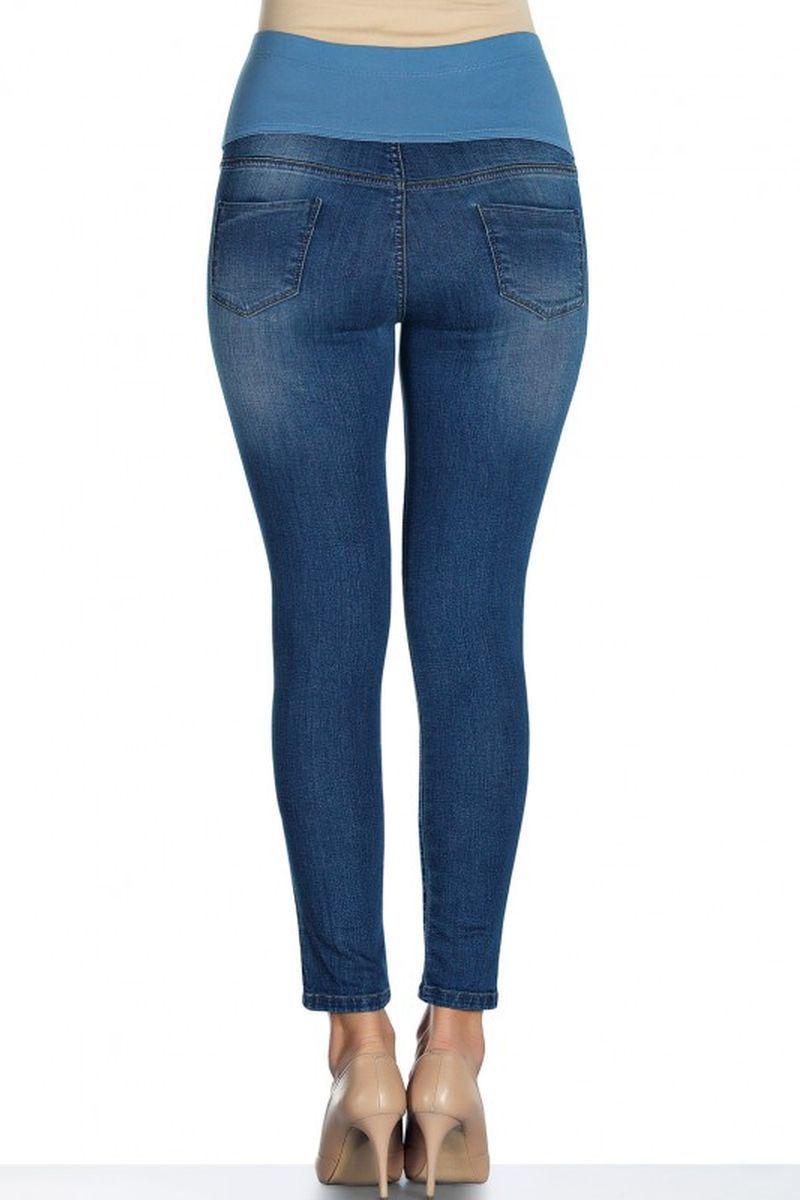 Фото джинсы для беременных EBRU, зауженные, укороченные, вышивка, трикотажная вставка от магазина СкороМама, голубой, размеры.