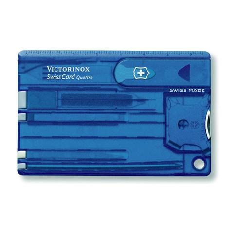 Швейцарская карта Victorinox SwissCard Quattro Blue (0.7222.T2) синяя полупрозрачная - Wenger-Victorinox.Ru