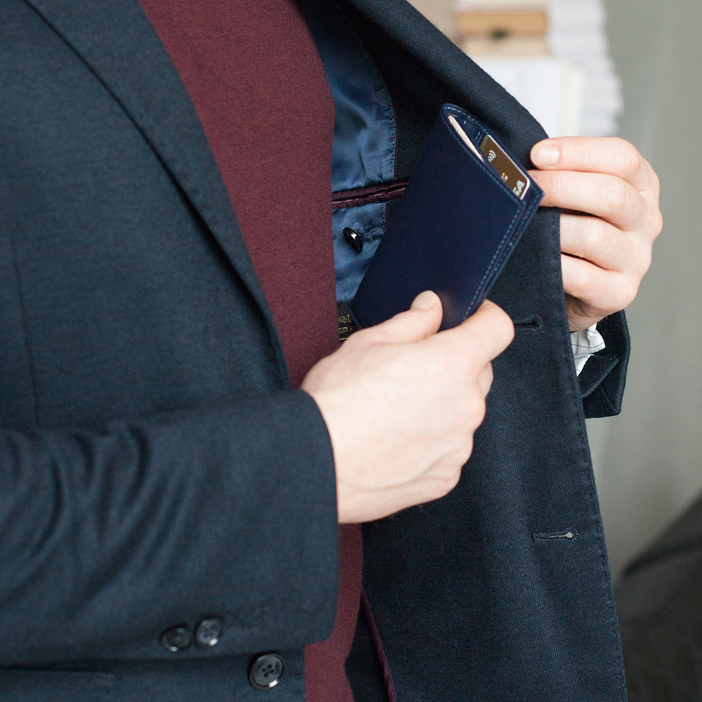 Обложка на паспорт и для автодокументов Paris Easy из натуральной кожи теленка, цвета индиго
