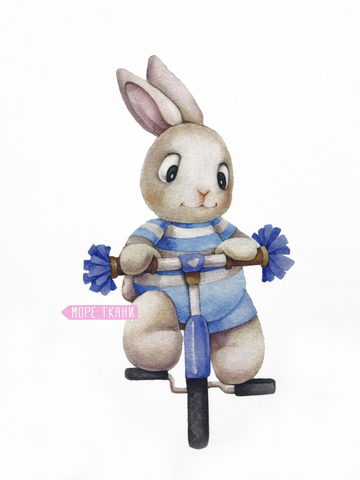 Панель(купон)  заяц на велосипеде -75*100 см