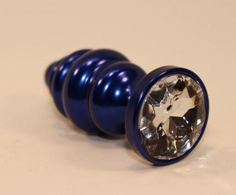 Синяя рифлёная пробка с прозрачным кристаллом - 7,3 см.