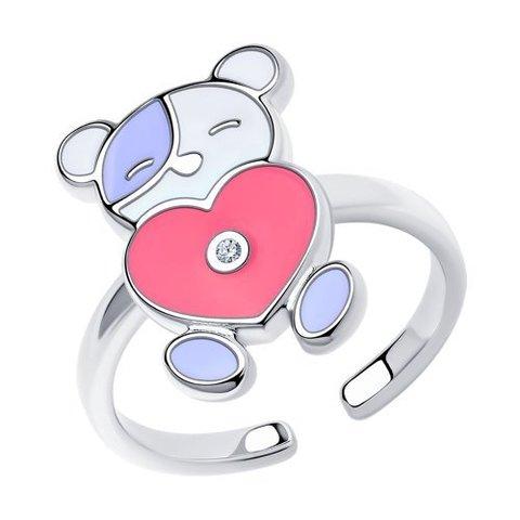 94013183 - Кольцо из серебра с эмалью и фианитом