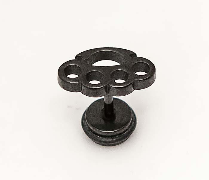 ER466-3 Черные стальные серьги в виде кастета фото 03