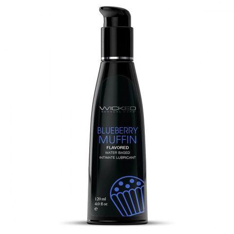 Лубрикант на водной основе с ароматом черничного маффина AQUA Blueberry Muffin - 120 мл.