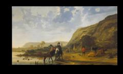 """Репродукция """" Альберт Кейп - Пейзаж с всадниками 1655"""""""