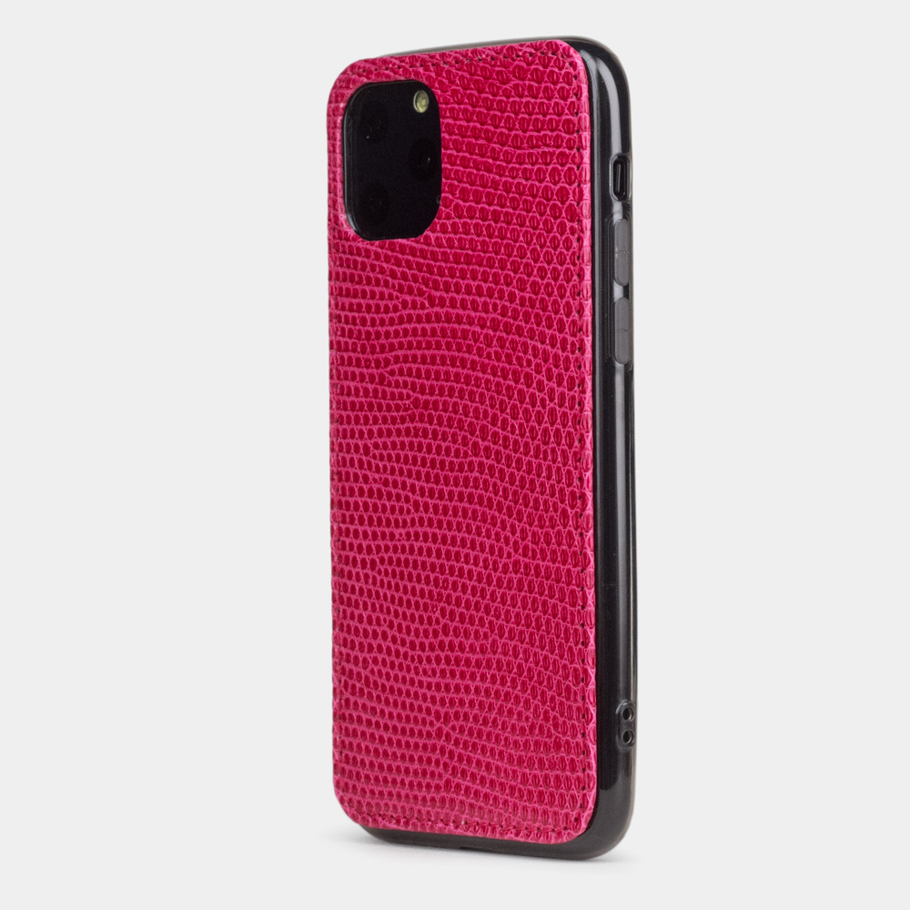 Special order: Чехол-накладка для iPhone 11 Pro из натуральной кожи ящерицы, цвета фуксии