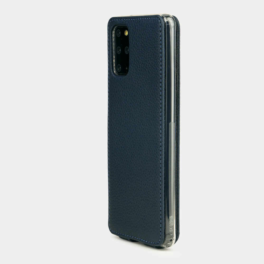 Чехол для Samsung Galaxy S20+ из натуральной кожи теленка, цвета синий мат