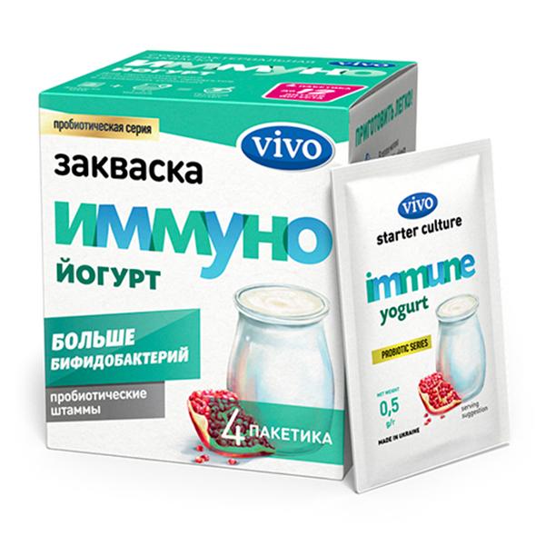 Закваска Иммуно йогурт VIVO, 4 саше по 0.5 гр.