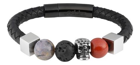 Мужской кожаный со сталью и камнями браслет Zippo 2006278
