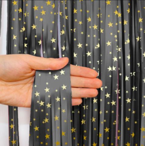 Занавес Дождик, черный с золотыми звездами, 1 м х 2 м