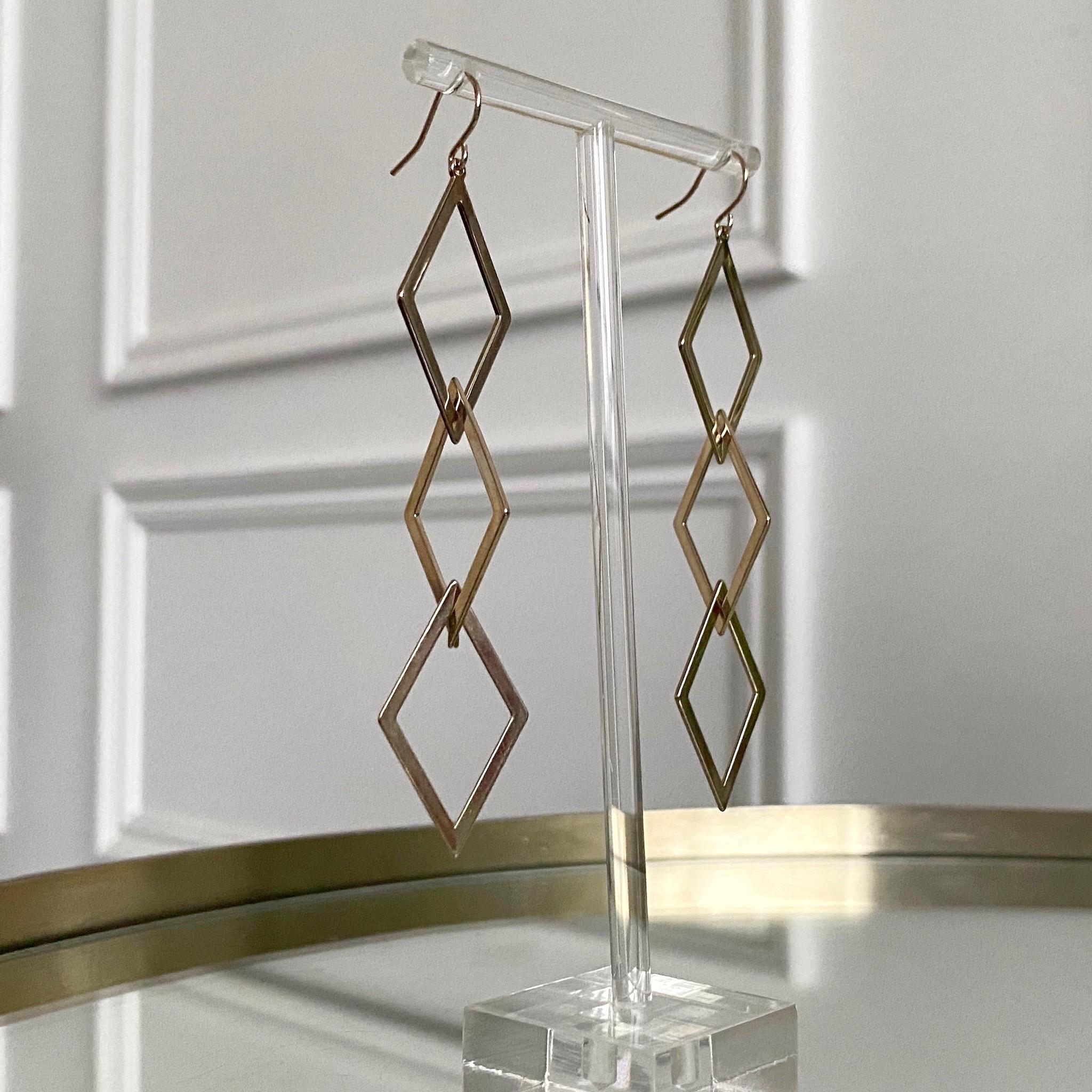 Серьги-подвески с тремя ромбами (брасс)