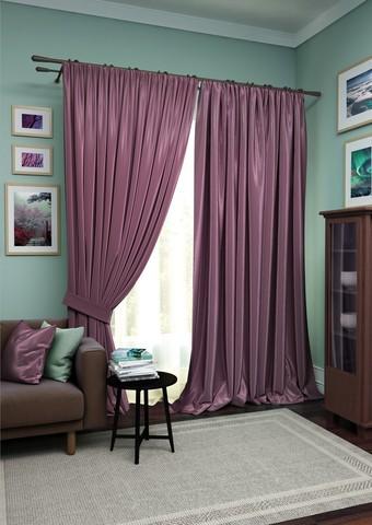 Комплект штор Авери с тюлем фиолетово-сиреневый