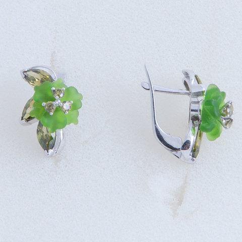 Серьги с цветами из зеленого кварца и вставками из фианита Арт.2251зз