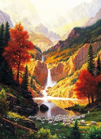 Картина раскраска по номерам 50x65 Горный водопад на восходе (арт. RA3540)