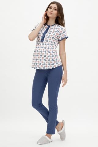 Пижама для беременных и кормящих 10018 синий