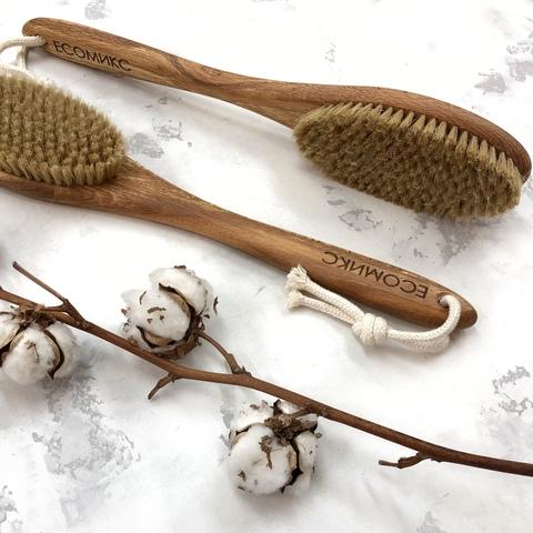 Щетка натуральная массажная с ручкой щетина дикого кабана ( лимфодренажная щетка) ECOмикс