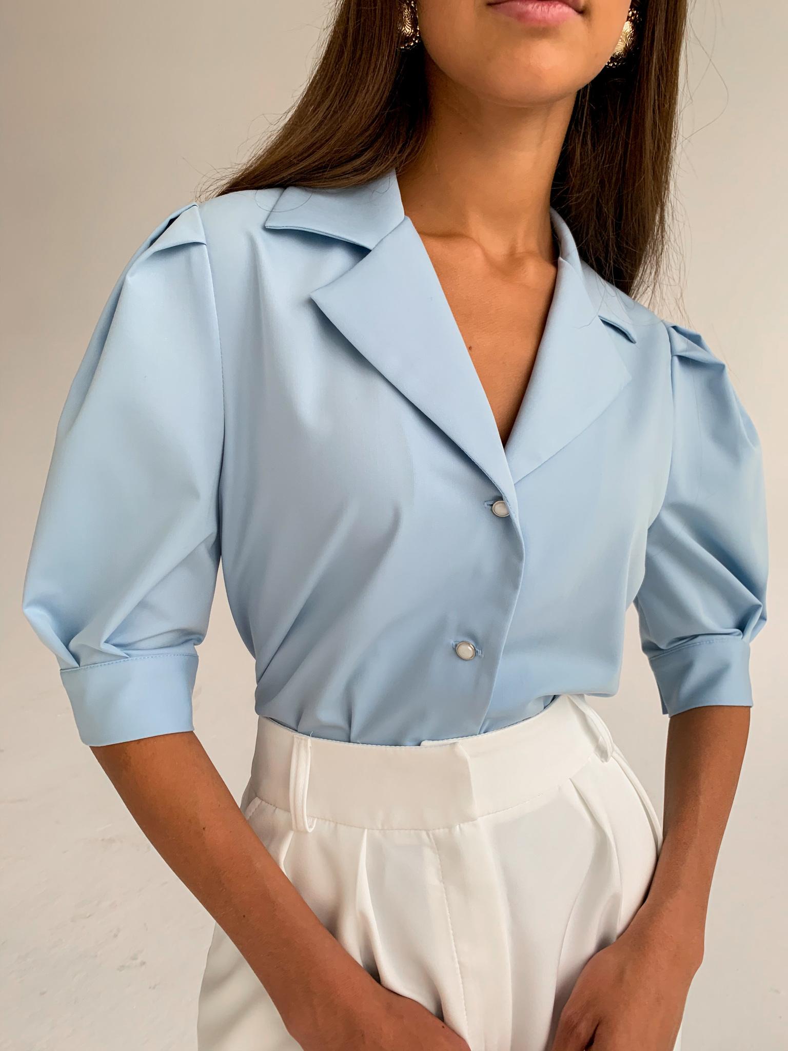 Рубашка с английским воротником и пышным рукавом (голубой)