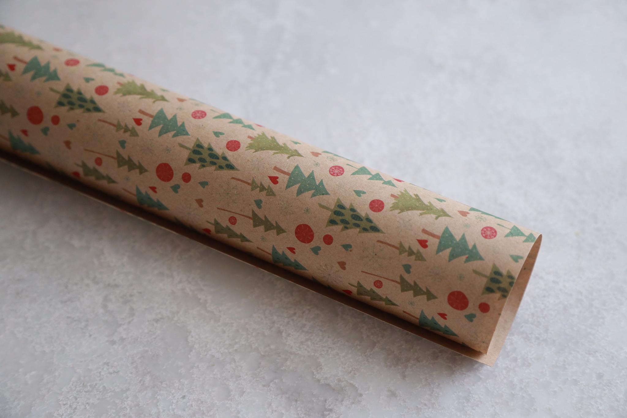 Бумага упаковочная крафт «Зимние деревья», 50х70 см