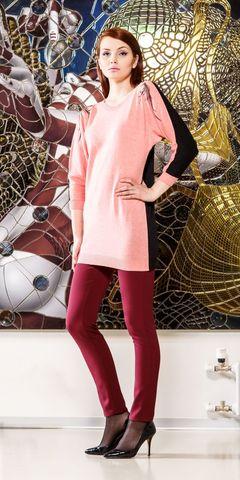 Фото розово-черный джемпер с рукавами 3/4 - Джемпер В810а-021 (1)