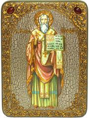 Инкрустированная икона Святой равноапостольный Мефодий Моравский 29х21см на натуральном дереве, в подарочной коробке