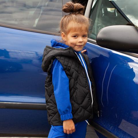 Дитячий стьобаний жилет унісекс синього кольору