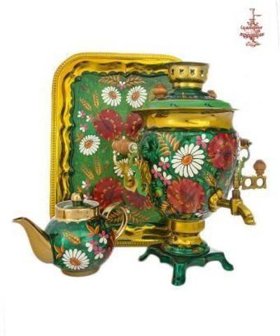 Самовар «Ромашки в маках» электрический формой желудь 3л в наборе с подносом и чайником