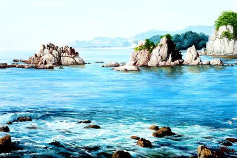 Картина раскраска по номерам 50x65 Каменистый берег океана