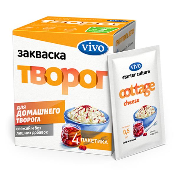 Закваска Творог VIVO, 4 саше по 0.5 гр.