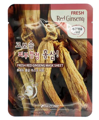370105 3W CLINIC Тканевая маска для лица с экст. корня красного женьшеня Fresh Red Ginseng