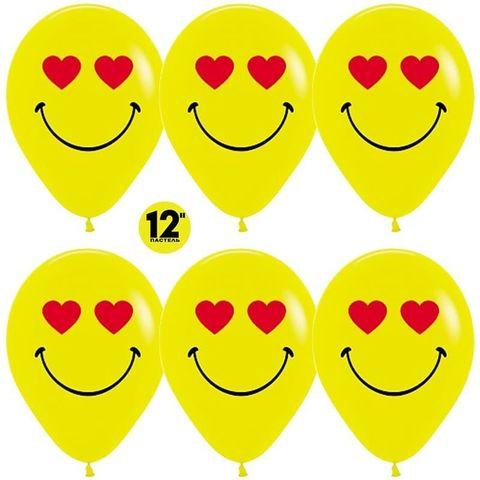 Шар (12''/30 см) Смайл влюбленный, Желтый (020), пастель, 2 ст.