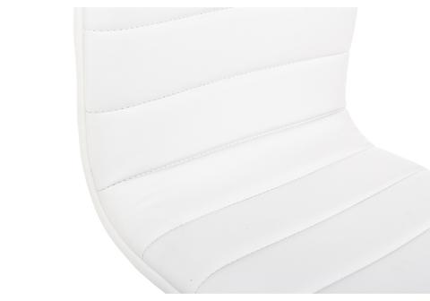 Офисное кресло для персонала и руководителя Компьютерный стул Midl белый 40*40*90 Хромированный металл /Белый кожзам