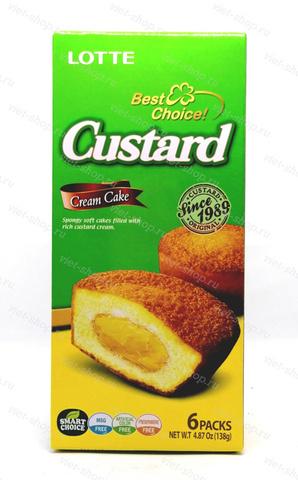 Кекс с заварным кремом Custard Lotte, Корея, 138 гр.