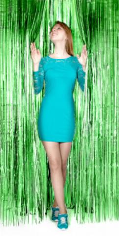 Занавес Дождик, зеленый, матовый, 1 м х 2 м